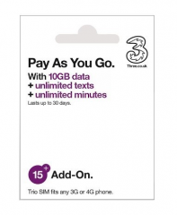 [Plug and Play] 3UK European Multi-Country Universal 30-Day 10GB 4G/3G Data Card Internet Card (3UK £15Pay As You Go 10GB)