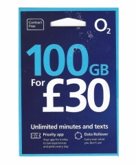 O2 UK+Europe 48 countries universal 30 days 4G/3G 100GB internet card+Europe calling