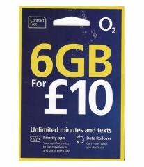 O2 UK 30DAYS 4G/3G 6GB Data Card + Unlimited Call