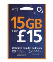 O2 UK 30DAYS 4G/3G 15GB Data Card + Unlimited Call