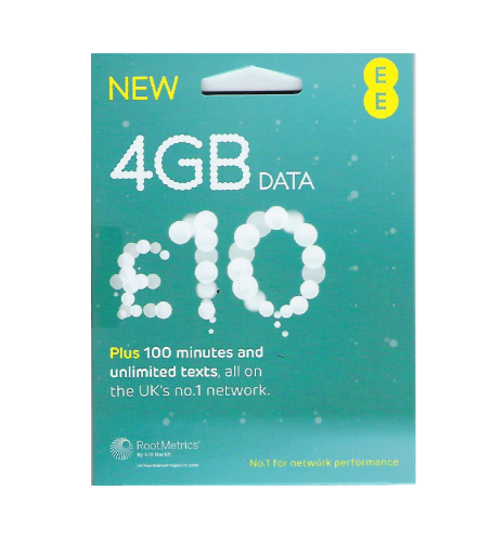 [UK EE] 4G UK 30 days 4GB + 100 minutes calls (rechargeable) official website £10 package